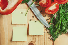 Blank notes with vegetable around Royalty Free Stock Photo