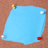 Blank notice. On cork noticeboard ready for text to be added Stock Photos
