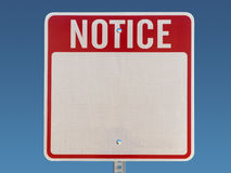 Blank Notice Sign. Red, white on blue Stock Photo
