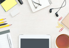 Blank office desk background Royalty Free Stock Photos