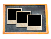 Blank old blackboard with photo frame. Blank old blackboard with vintage photo frame Stock Photography
