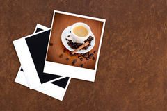 Blank old camera film and vintage camera and coffee Royalty Free Stock Photos