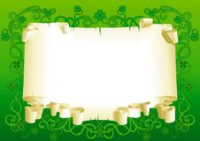 Blank of old paper for St. Patricks Day. Old paper with leaves of clover and ornate elements on green background Royalty Free Stock Photo