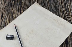 Blank Old Paper With Wood Pencil Stock Image