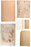 Blank old papers set. Old papers set isolated on white background. each one is shot separately Stock Images