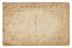 Blank old vintage postcard isolated Stock Image