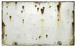 Blank Old Weathered Sign. Corroded blank white weathered metal sign isolated on white background royalty free stock image