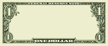 Blank one dollar bill. Clear 1 dollar banknote pattern for design purposes Royalty Free Stock Photos