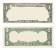Blank one dollar bill. Blank front and back 1 dollar banknote isolated Royalty Free Stock Image