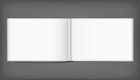 Blank of open album with cover on grey background. Template Royalty Free Stock Image