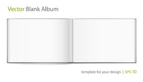 Blank of open album with cover on white background. Template Stock Photos