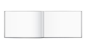 Blank of open album with cover on white background. Template Stock Images