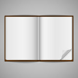 Blank Open Book with Corner Fold Stock Photo