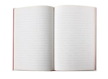 Blank open book with lined pages Stock Images