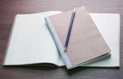 Blank open book and pencil Stock Image