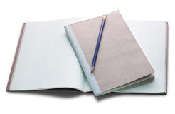 Blank open book and pencil isolated on white Royalty Free Stock Photo