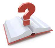 Blank open book and a question mark. 3d render illustration Stock Image