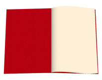 Blank open book - red diary etc, white background Stock Photos