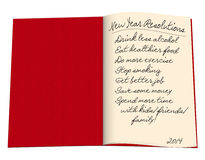 Blank open book, red - new year lifestyle resolutions. Dated 2014, white background stock illustration