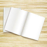 Blank open books. Isolated on wooden desk stock illustration