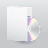 Blank open box with blank disc Royalty Free Stock Image