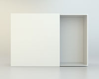 Blank open box on gray background. Royalty Free Stock Photos