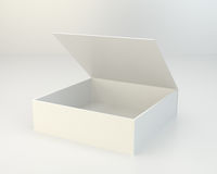 Blank open box on gray background. Stock Image