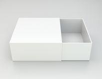 Blank open box on gray background. Royalty Free Stock Photography