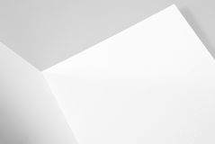Blank open card or folded sheet of paper Stock Image
