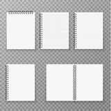Blank open and closed realistic notebook collection, organizer and diary vector template isolated. Paper page organizer. And notebook set illustration royalty free illustration