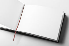 Blank open diary over gray background Stock Image