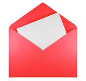 Blank open envelope - red Royalty Free Stock Photography