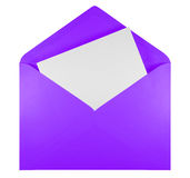 Blank open envelope - violet Royalty Free Stock Photos