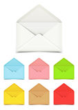Blank open envelopes  on white, set of various colors Royalty Free Stock Photos