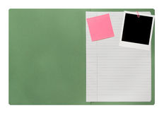 Blank open file folder. With polaroid picture frame Stock Image