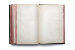 Blank open hardback book. Two blank pages in an old empty hardback book stock image