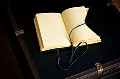 Blank Open Leather Bound Journal On Old Trunk Stock Photo