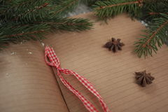 Blank open notebook, Christmas tree, snow, gingerbread, Stock Photos