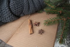 Blank open notebook, Christmas tree, snow, gingerbread, Stock Image