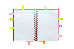 Blank open notebook with lined papers and post it Stock Photo