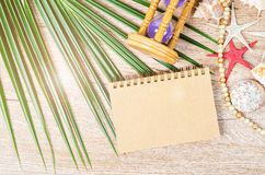 Blank Open Notebook On Summer Decorative. Stock Images