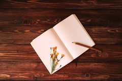 Blank open notebook, wooden pencil and dandelion on wooden background. Blank open notebook, wooden pencil and dandelion on red wooden background Royalty Free Stock Photo