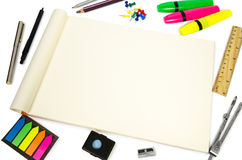 Blank open Notepad for making notes or sketches. Royalty Free Stock Images