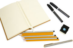 Blank open Notepad for making notes or sketches with stuff Royalty Free Stock Photos