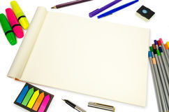 Blank open Notepad for making notes or sketches with stuff Royalty Free Stock Photography
