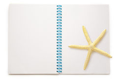 Blank open notepad with sea star Royalty Free Stock Photo