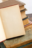 Blank Open Page With Antique Books Royalty Free Stock Image