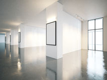 Blank open space gallery interior with canvas . 3d stock photos