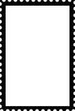 Blank Open Stamp Portrait Template Black on White Stock Photography