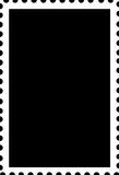 Blank Open Stamp Portrait Template White on Black Stock Image